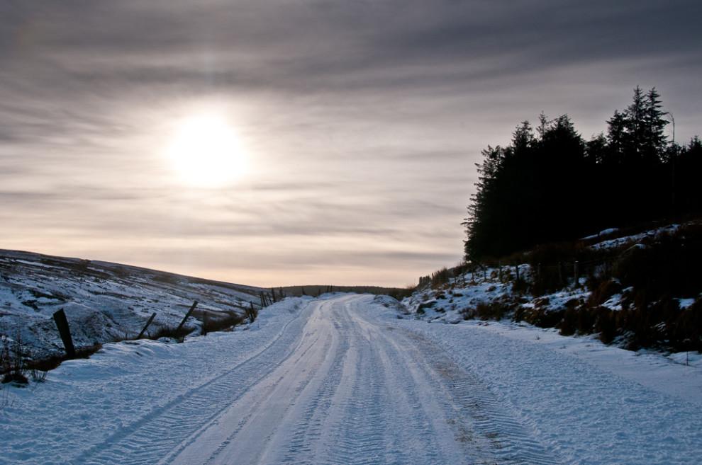 Route enneigée - Irlande du Nord